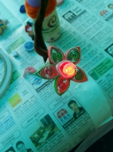 LEDs was incorporated into a quilled flower