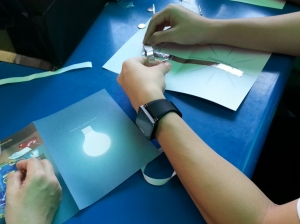 Making paper circuits with aluminium tapes as wires