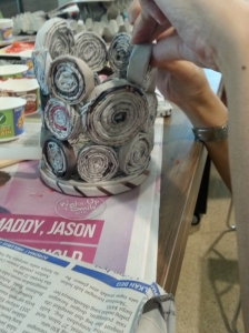 Newspaper quilled into a vase