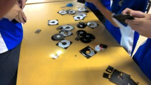 The students dismantle the diskette